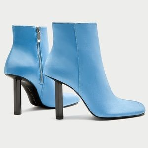 ZARA Sky Blue Pin Heel Ankle Boots *BLOGGERS FAV*